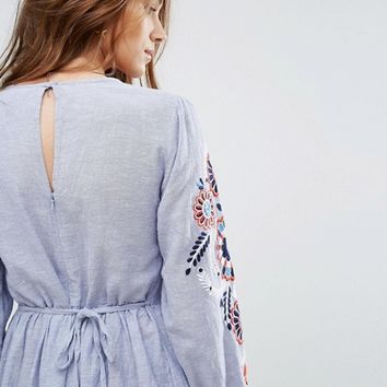 New Look Embroidered Smock Dress at asos.com