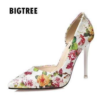 Vintage Print pointed toe High heels