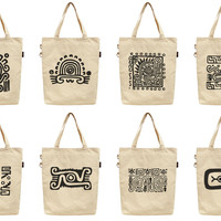 Women Mexican Culture Icons Printed Canvas Tote Shoulder Bag WAS_40