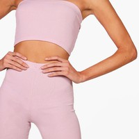 Tall Jenna Rib Bandeau And Leggings Co-ord | Boohoo