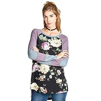 Oddi Women's Floral Print Baseball Shirt with Long Raglan Sleeves in Misses and Plus Sizes