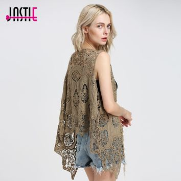 Jastie Hippie Froral Patch Design Vest Retro Vintage Crochet Summer Beach Cover Up Asymmetric Open Stitch Kimono Z-63