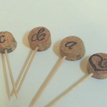 Cork Cupcake Topper, Wine Cork Cupcake Decoration, Cupcake Decor, Vineyard Themed Cupcake Topper, Bridal shower decor, Rustic Cupcake topper