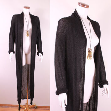 Vintage - 90s - Black Knit - Long Duster - Floor Length - Draped - Avant Garde - Sweater - Jacket