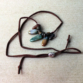 Indian Agate (Bloodstone) and Animal Bone and Horn dangle adjustable suede necklace in Green and Brown earthtones