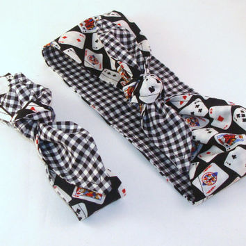 Rockabilly Mommy and Me Matching Poker Playing Cards over Black Gingham Head Scarfs Pinup Women Infant Toddler Baby Headband Hair Accessory