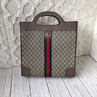 GUCCI WOMEN'S GG SUPREME CANVAS HANDBAG SHOPPING BAG
