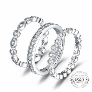 3 Pieces Cubic Zirconia Stackable Eternity Band Ring Set 925 Sterling Silver