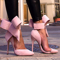Pink Big Bow Pointed High Heel Stilettos Shoes Pumps