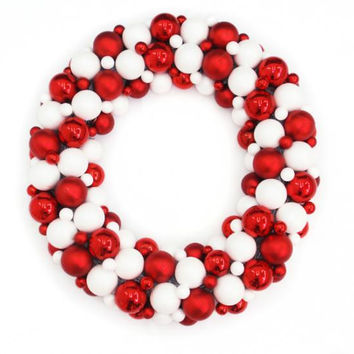"Christmas Ball Ornament Wreath - 24 ""  - 3 Sizes Of Shatterproof Ball Ornaments Ranging From .75 Inches - 2.5 Inches"