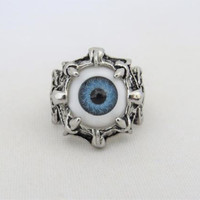 Vintage Gothic Jewelry Silver Tone Evil Eye Ball Claw Ring Size 10