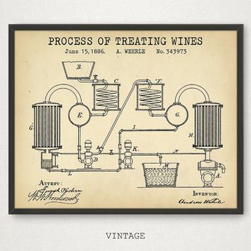 Wine Poster, Wine Treating Patent, Digital Download, Wine Art Print Liquor Spirits Drinks Wall Art Kitchen Art Bar Decor Retro Wine Gifts
