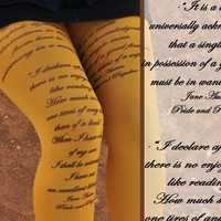Tights - JANE AUSTEN Quotes- Pride and Prejudice -Gray, Mustard,Beige,Rusty Red tights