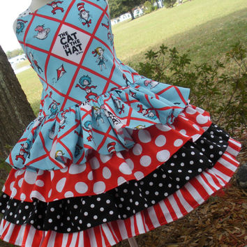 Custom Boutique Seuss Cat in Hat Fabric Ruffle Dress Girl 2 3 4 5 6