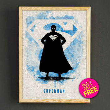 Superman Justice League Watercolor Art Print Justice League Superhero Poster House Wear Wall Decor Gift Linen Print - Buy 2 Get FREE - 46s2g