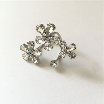 Floating Flowers Silver Ring
