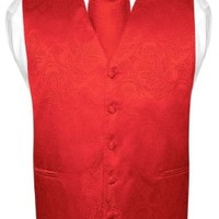 Men's Paisley Design Dress Vest & NeckTie RED Color Neck Tie Set sz 2XL