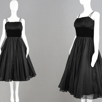 Vintage 1950s Evening Dress JEAN ALLEN Chiffon & Black Velvet Dress 50s Party Dress Pleated Skirt Shelf Bust Dress 50s Formal Dress Cocktail