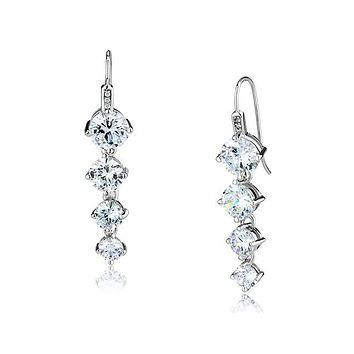 Midnight Muse - Women's Rhodium Plated Brass Earrings with AAA Grade Clear CZ Stones