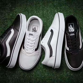 Vans Old Skool Soft leather Classic Canvas Leisure Shoes white H-ZPMY-ZZQGDL