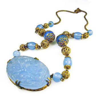 Art Deco Necklace, Czech Glass, Chalcedony Blue, Gold Filigree, Carved Chinese Stone, Asian Motif, Antique Jewelry