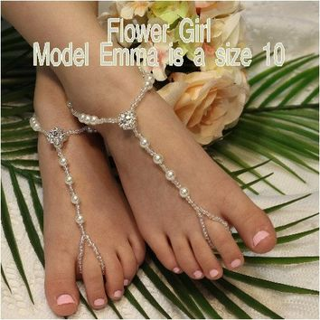 ELEGANCE flower girl barefoot sandals