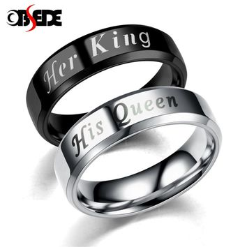 OBSEDE King Queen Rings Stainless Steel Couples Lover's Rings for Men Women Romantic Wedding Engagement Fashion Jewelry