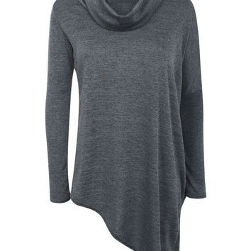 Sierra Asymmetric Cowl Neck Knitted Top in Charcoal Grey
