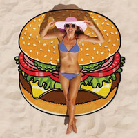 Hamburger Tapestry Hippie Yoga Mat Shawl Beach Towel