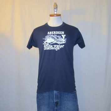 Vintage 80s RAFTING CHALLENGE GRAPHIC Whitewater Outdoor Sports Velva Sheen Soft Thin Blue Medium 50/50 T-Shirt