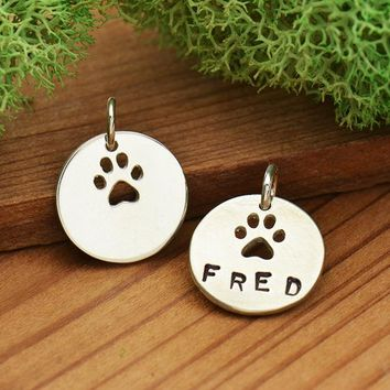 Sterling Silver Circle Charm with Paw Print Cutout - Stamping Charm