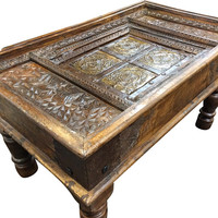 Antique Coffee Table, Vintage Coffee Table, Rustic Coffee Table-Mughal Inspired Indian Furniture