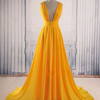 Unique V Neck Yellow Prom Dress with Sweep Train, Yellow Formal Dress, Party Dress