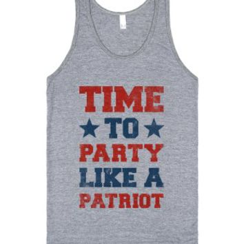 Time to Party Like A Patriot (Vintage Tank)-Athletic Grey Tank