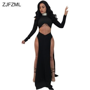 ZJFZML Newest Double Side Split Sexy Maxi Dress Women High-Neck Long Sleeve Irregular Dress Cold Shoulder Hollow Out Party Robe