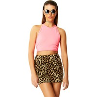 Faux Real Baby Leopard Fur Mini Skirt