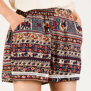 Super Sexy 2016 Summer Shorts Women Ladies Boho Short Femme Loose Vintage Elastic Waist Shorts Femmes