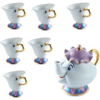 Beauty And The Beast Mug Mrs Potts Chip Tea Cup Ceramic Tea set [1 pot +6 cups]