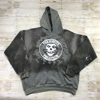 Destroyed The MISFITS Fiend Club Distressed Bleached Hooded Sweatshirt Mens Size Large