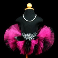 Newborn Infant Tutu Set...Hot Pink Black...Portrait Tutu First Birthday...6 Inch Length . . . DARLING DIVA | TutuGorgeousGirl - Children's on ArtFire