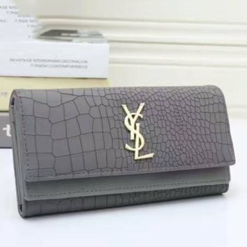 YSL Buckle Women Leather Purse Wallet Satchel Tote Handbag grey