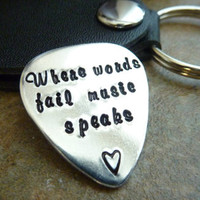 Where words fail music speaks Personalized Guitar Pick Hand Stamped Guitar pick Groomsmen, Music Teacher