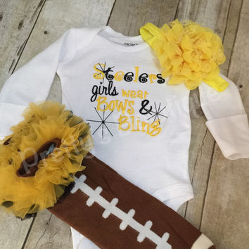 Pittsburgh football outfit girls like bling bodysuit set with ruffled football leg warmers and headband