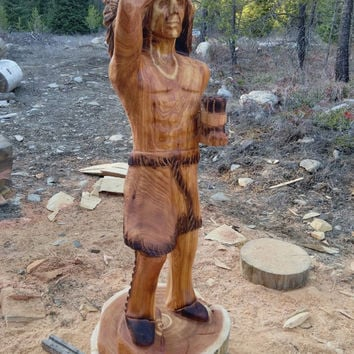 Cigar Store Indian - Chainsaw Carving Sculpture Wood Art