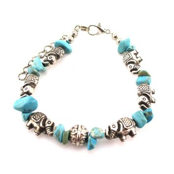 Elephant Charms and Turquoise Stones Shaped Beaded Bracelet in Silver | DOTOLY