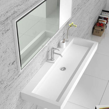 Bathroom Rectangular Wall Hung Vanity Wash Sink Matt Solid Surface Stone Wash Basin RS38432