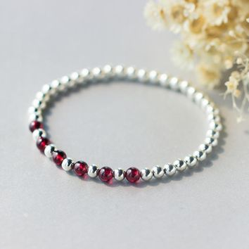 Retro 100% Real. 925 Sterling Silver Jewelry 5mm Natural Red Garnet Stone &Lucky Round Ball Bracelet Thin Charms GTLS329