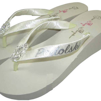 Bridal Flip Flops, Wedding Flip Flop Sandals- Mrs Last Name- Lace Bling, Ivory Wedge White Platform Personalized Gift for the Bride