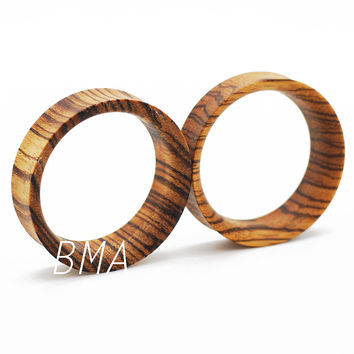 Custom Zebra Wood Tunnels Plugs