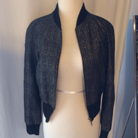 Armani Exchange Gold Black Bomber Jacket